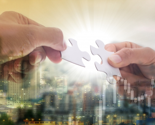 Cooperation puzzle partnership teamwork for support together with connect jigsaw puzzle together